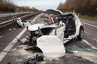 Lok , Unfall Potaschbierg A1, Potaschbierg Richtung Luxemburg , Pkw gegen Lkw , 1 Toter , Foto:Guy Jalllay/Luxemburger Wort
