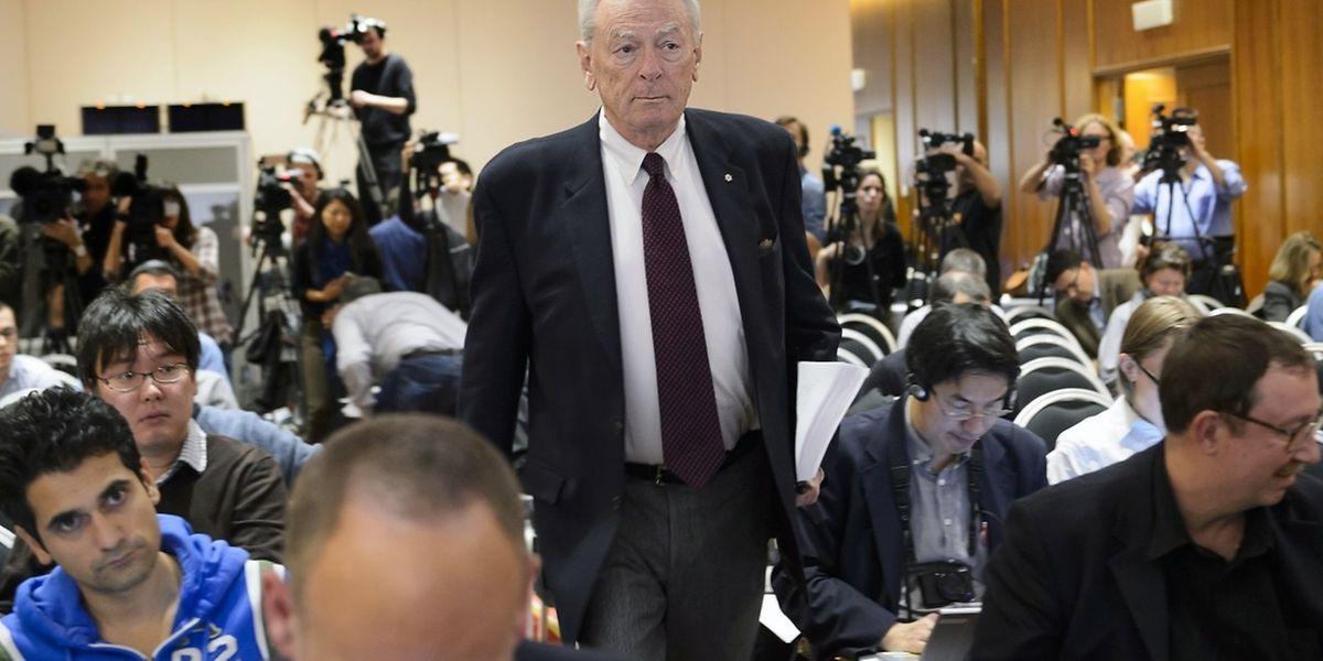 Der Präsident der World Anti-Doping Agency (WADA), Richard W Pound, stellte den Bericht über Doping- und Korruption in der Leichtathletik vor.
