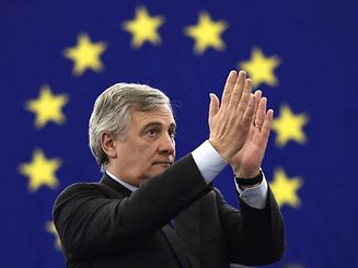 The European Parliament's new President Antonio Tajani reacts following his election in Strasbourg, on January 17, 2017.