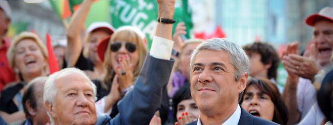 Soares e Sócrates juntos na última campanha eleitoral, em Setembro de 2009