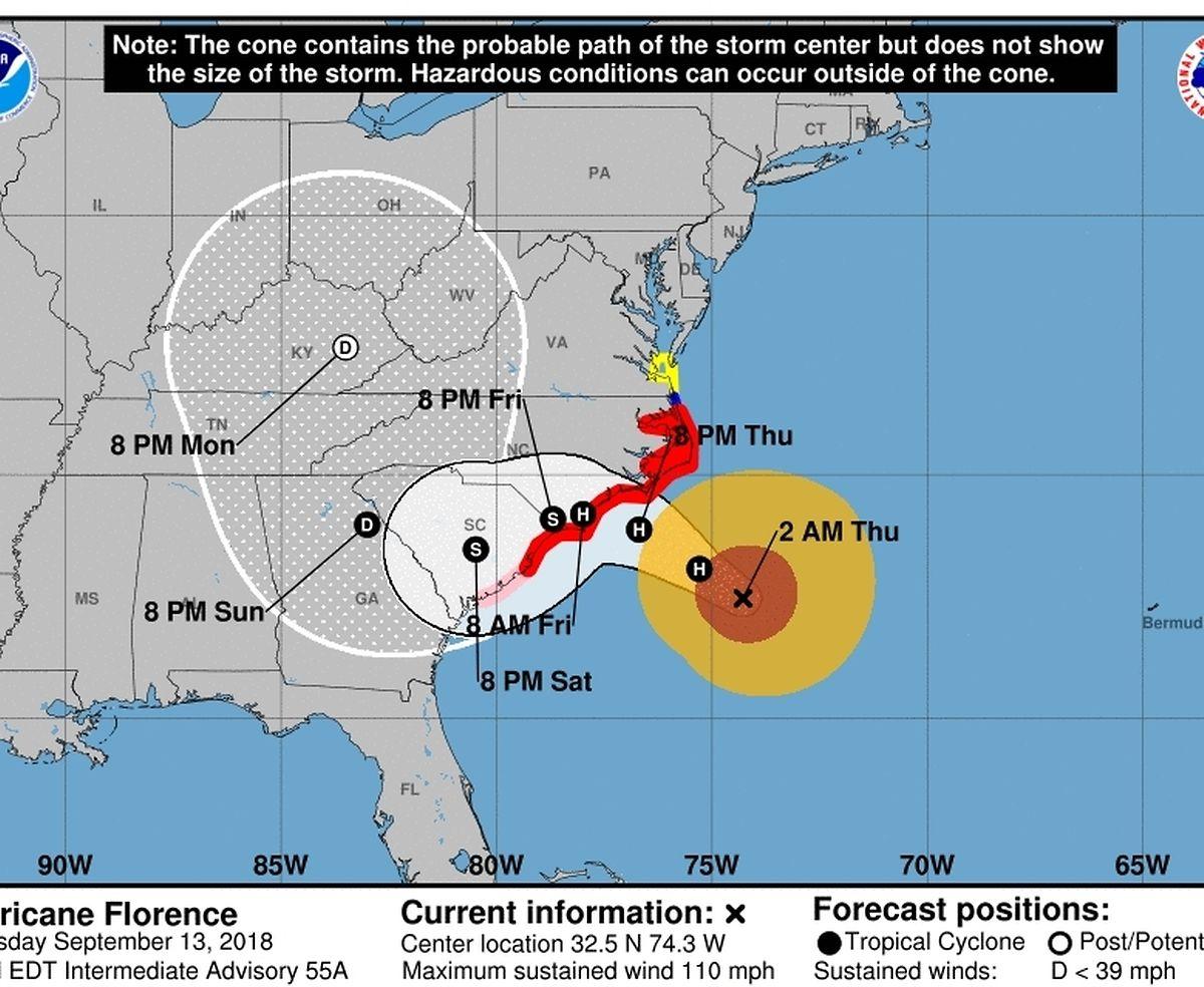 Die vorausgesagte Bahn des Sturms in den kommenden Stunden.