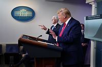 CORRECTION - US President Donald Trump points to ABC News chief White House correspondent Jonathan Karl (off frame) during the daily briefing on the novel coronavirus, COVID-19, in the Brady Briefing Room at the White House on April 6, 2020, in Washington, DC. (Photo by MANDEL NGAN / AFP) / �The erroneous mention[s] appearing in the metadata of this photo by MANDEL NGAN has been modified in AFP systems in the following manner: [ABC News chief White House correspondent Jonathan Karl] instead of [CNN journalist Jim Acosta]. Please immediately remove the erroneous mention[s] from all your online services and delete it (them) from your servers. If you have been authorized by AFP to distribute it (them) to third parties, please ensure that the same actions are carried out by them. Failure to promptly comply with these instructions will entail liability on your part for any continued or post notification usage. Therefore we thank you very much for all your attention and prompt action. We are sorry for the inconvenience this notification may cause and remain at your disposal for any further information you may require.�