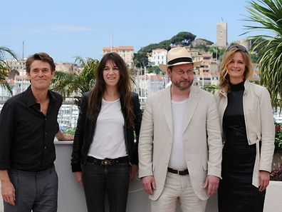 "This file photo taken on May 18, 2009, shows (l to r) Willem Dafoe, Charlotte Gainsbourg, Danish director Lars Von Trier and Meta Louise Foldager posing during the photocall of their movie ""Antichrist"" in competition at the 62nd Cannes Film Festival."