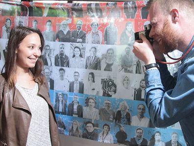 234.5.2016 Luxembourg, Gasperich, LuxemburgerWort, Aktion-Fahnen für Nationalfeiertag photo Anouk Antony