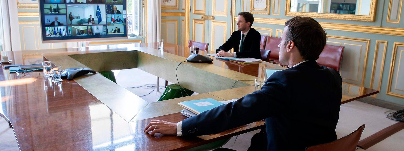 Emmanuel Macron bei einem EU-Videogipfel.