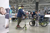 KAZAN, RUSSIA - MARCH 27, 2020: A family shop for bicycles in a Decathlon sports store in Kazan, Tatarstan. Yegor Aleyev/TASS (Photo by Yegor Aleyev\TASS via Getty Images)