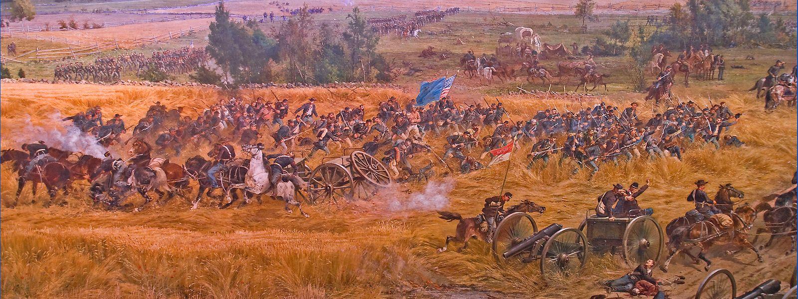 """Das Gemälde """"Pickett's Charge"""" des Franzosen  Paul Philippoteau zeigt die Schlacht bei Gettysburg am 3. Juli 1863."""
