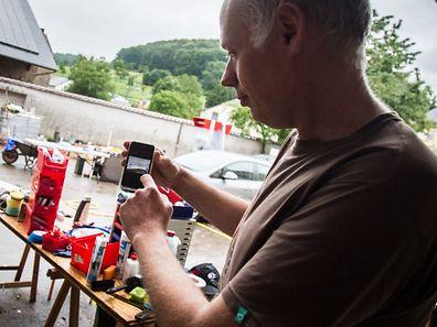 Saxer,Überschwemmungsopfer in Ermsdorf.Foto:Gerry Huberty
