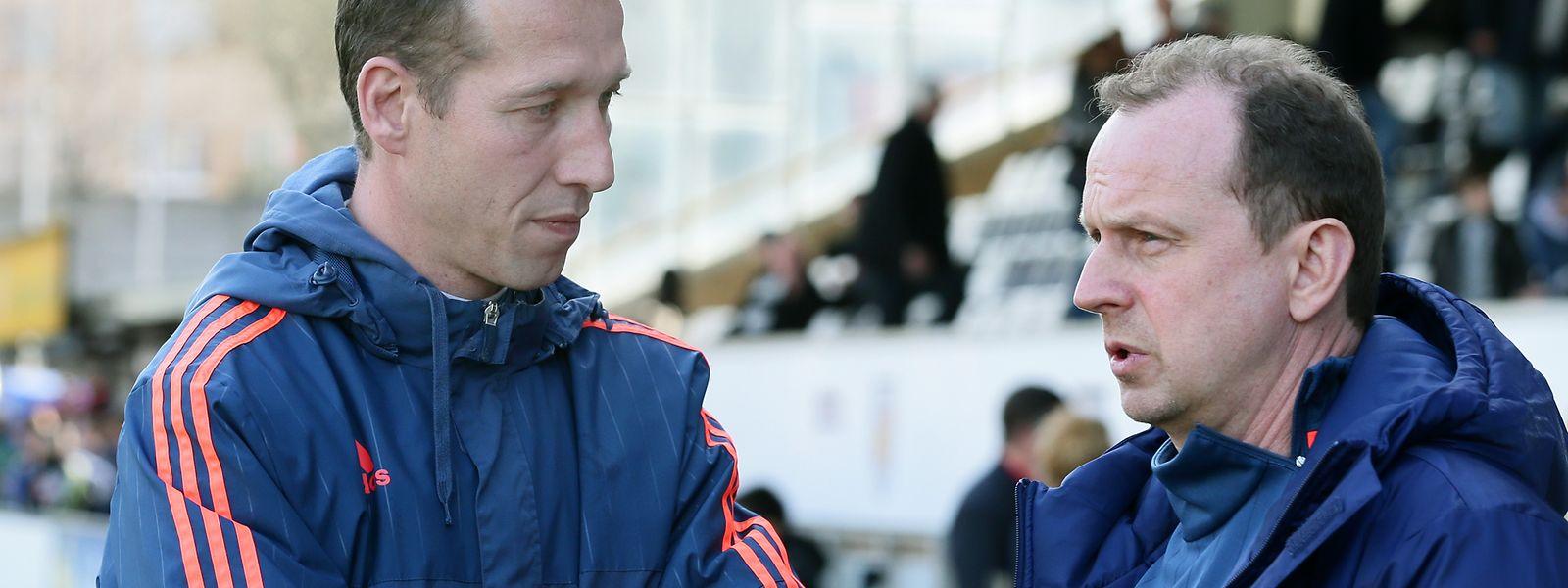 Fola-Sportdirektor Pascal Welter, hier im Gespräch mit Trainer Jeff Strasser, sieht den Ligaverband in der Verantwortung.