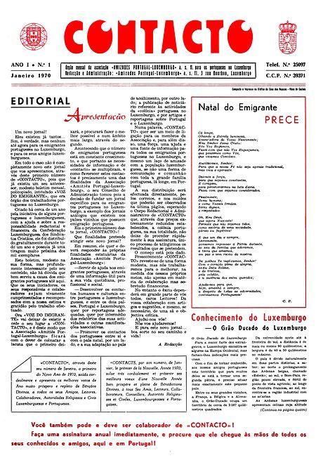 A capa do primeiro Contacto, publicada em janeiro de 1970.