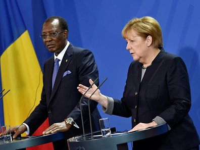 German Chancellor Angela Merkel and Chad President Idriss Deby address the media after a meeting at the Chancellery in Berlin, Germany October 12, 2016. REUTERS/Stefanie Loos