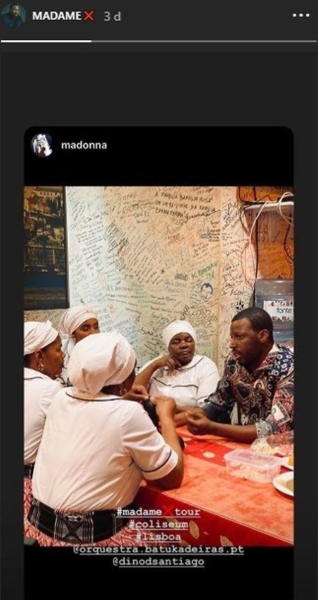 Uma das poucas imagens de Dino, divulgadas por Madonna nos seus Instastories e partilhada pelo cantor na sua rede social.