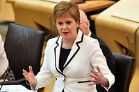 Scotland's First Minister Nicola Sturgeon makes a statement to the Scottish Parliament on Brexit and a second independence referendum, at Holyrood, central Edinburgh on April 24, 2019. (Photo by ANDY BUCHANAN / AFP)