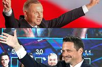 (COMBO) This combination of pictures created on June 28, 2020 shows Polish President Andrzej Duda (top) flashing V-signs after addressing supporters as exit poll results were announced during the presidential election in Lowicz, Poland, on June 28, 2020 and Candidate in Poland's presidential election, Warsaw Mayor Rafal Trzaskowski waving to supporters as exit poll results were announced during the presidential election in Warsaw, Poland, on June 28, 2020. - Poland's right-wing President Andrzej Duda topped round one of a presidential election on June 28, 2020, triggering a tight run-off with Warsaw's liberal Mayor Rafal Trzaskowski on July 12, according to an Ipsos exit poll. (Photos by Wojtek RADWANSKI and JANEK SKARZYNSKI / AFP)