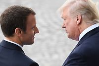 "(FILES) In this file photo taken on July 14, 2017 French President Emmanuel Macron (L) bids farewell to his US counterpart Donald Trump after the annual Bastille Day military parade on the Champs-Elysees avenue in Paris. Macron on April 22, 2018, reiterated demands that Europe be definitively spared from punishing new US steel and aluminum tariffs, days before a temporary exemption is due to expire. ""I hope... he will decide for an exemption for the European Union,"" Macron said of US President Donald Trump on Fox News Sunday. ""You don't make trade war with your allies.""  / AFP PHOTO / ALAIN JOCARD"