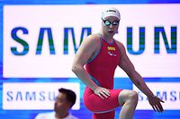 Luxembourg's Julie Meynen competes in a heat for the women's 100m freestyle event during the swimming competition at the 2019 World Championships at Nambu University Municipal Aquatics Center in Gwangju, South Korea, on July 25, 2019. (Photo by Ed JONES / AFP)