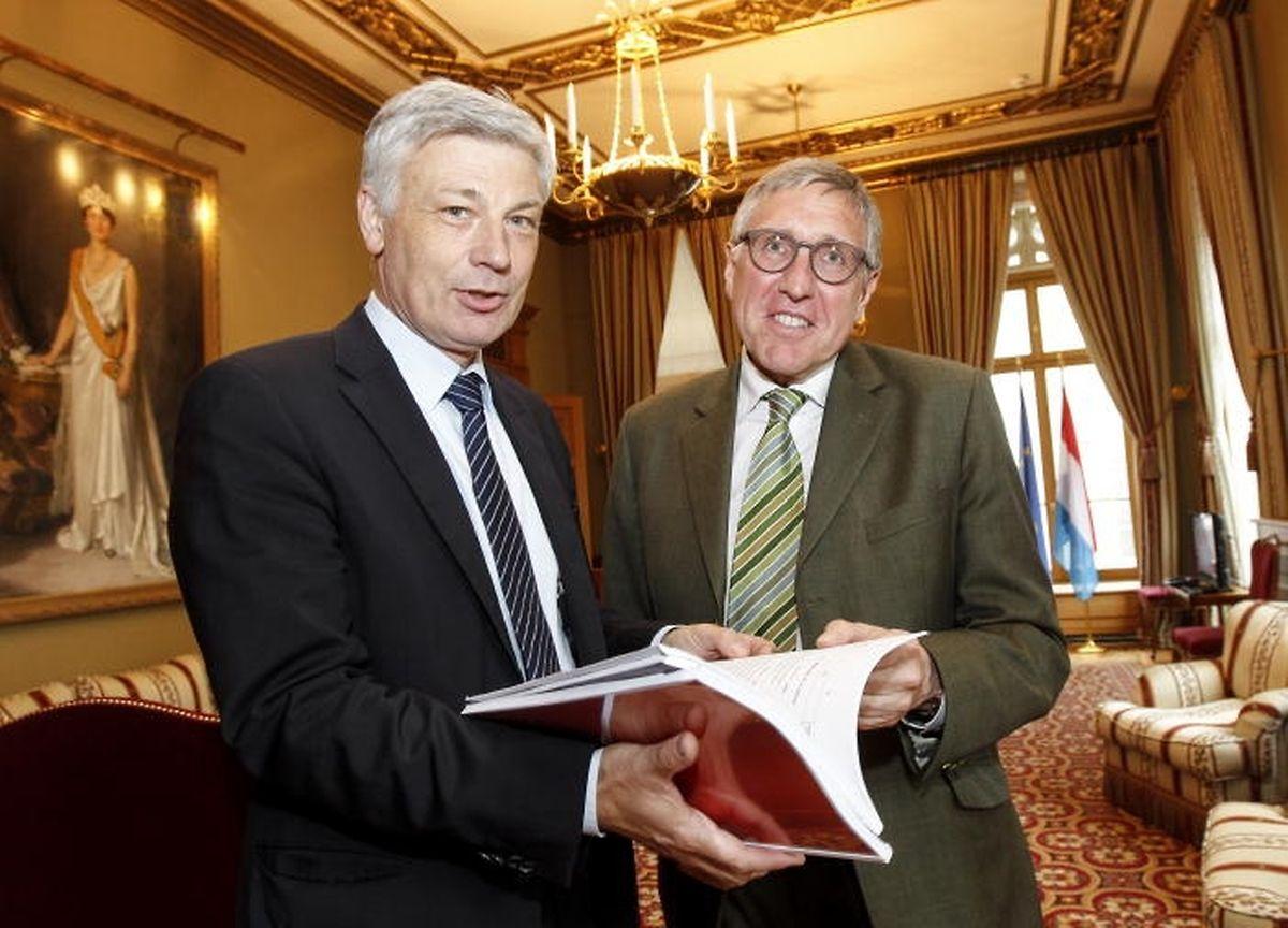 50% des sondés pensent que Claude Wiseler (CSV) -à gauche- et François Bausch (Déi Gréng) pourraient obtenir la majorité au sein d'une coalition en octobre 2018.
