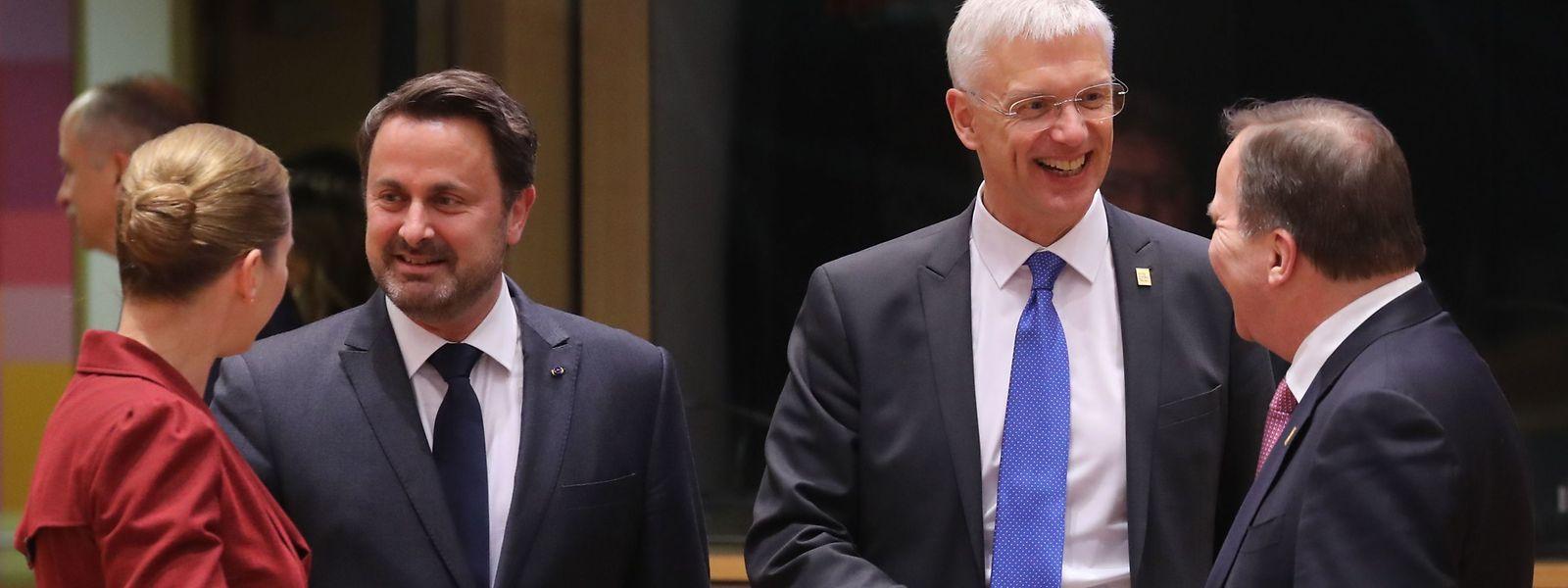 (V.l.n.r.) Dänemarks Premierministerin Mette Frederiksen, Luxemburgs Premierminister Xavier Bettel, Lettlands Premierminister Krisjanis Karins und Schwedens Premierminister Stefan Lofven.