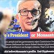 Une affiche représentant Jean-Claude Juncker, président de la Commission européenne, pour lui demander l'arrêt du glyphosate au sein de l'UE.