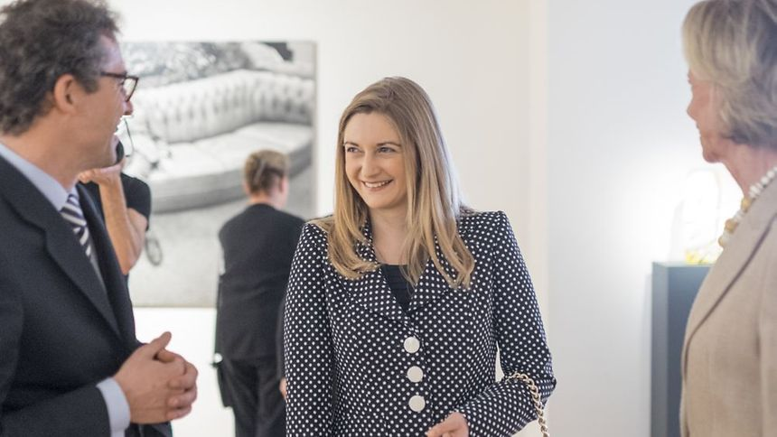 Princess Stéphanie is pictured during a tour of the new wing at the MNHA museum in Luxembourg City