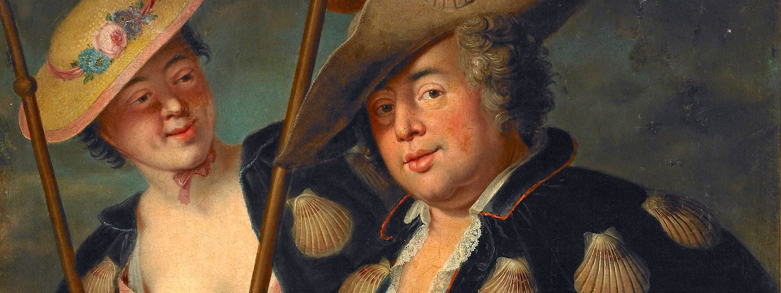 """Ein Portrait von Gustav Adolf Graf von Gotter und seine Nichte Friederike von Wangenheum in Pilgerkostüme (1750) nach Pesne Adolf von Gotter ist in der Ausstellung """"Confrontatios"""" in der Villa Vauban zu sehen."""