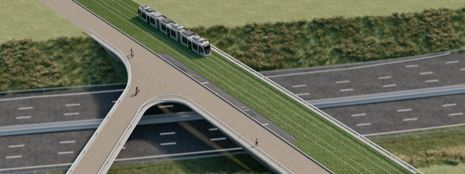 Le nouveau pont en forme de Y, marqué en brun, passera au-dessus de l'autoroute A3.
