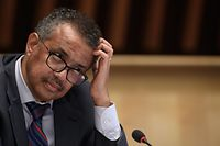 World Health Organization (WHO) Director-General Tedros Adhanom Ghebreyesus attends a press conference organised by the Geneva Association of United Nations Correspondents (ACANU) amid the COVID-19 outbreak, caused by the novel coronavirus at WHO headquarters in Geneva on July 3, 2020. (Photo by Fabrice COFFRINI / POOL / AFP)