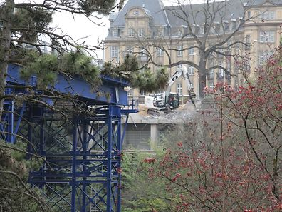 The blue bridge is being removed.