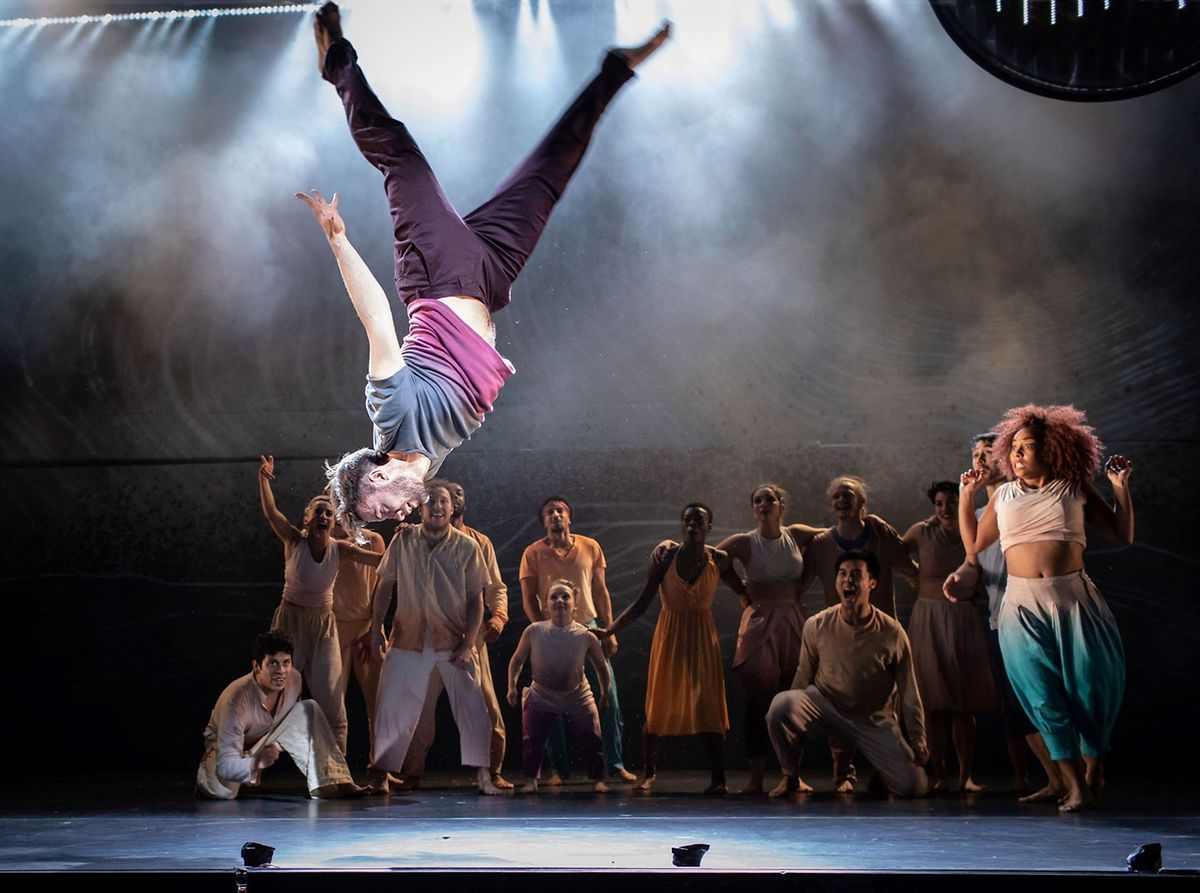 Acrobatics and break dancing from a multi-ethnic dance troupe