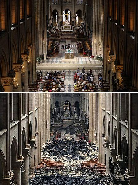 Superposition de photos montrant l'intérieur de la cathédrale le 16 avril 2019 et le 26 juin 2018.