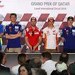 Andrea Iannone, Valentino Rossi, Andrea Dovizioso, Marc Marquez, Maverick Vinales et Johann Zarco (de gauche à droite) prêts à livrer bataille.