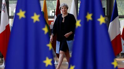 British Prime Minister Theresa May arrives at the EU summit in Brussels,
