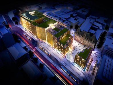 """Das Megaprojekt """"Royal-Hamilius"""" wird das Stadtbild maßgeblich ändern. Zuvor standen in diesem Bereich jahrelang teils leer stehende Verwaltungsgebäude."""