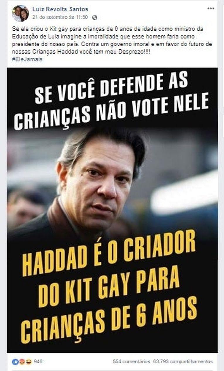 A criação de um kit gay pelo opositor de Bolsonaro, Haddad, é outra das invenções que circulou na campanha.