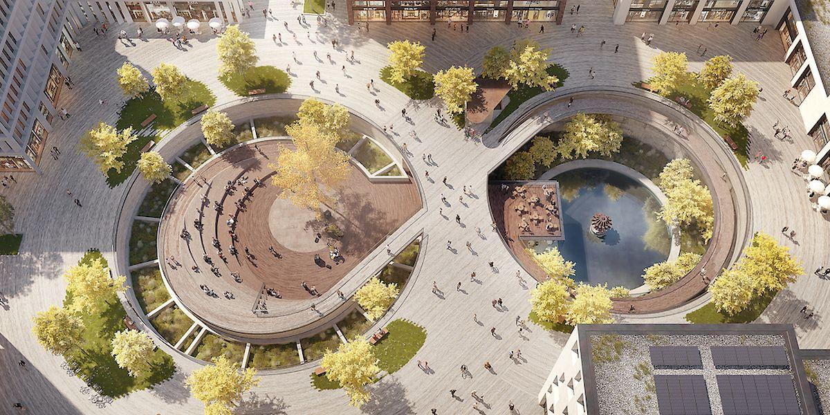 Das eine Sinterbecken wird zu einer Art Amphitheater umgestaltet (links), in dem anderen wird unter anderen ein Restaurant mit Terrasse eingerichtet.