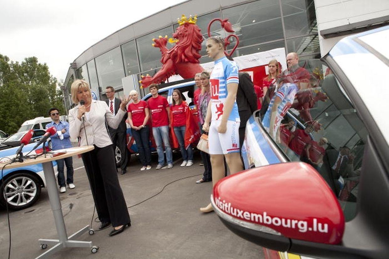 La ministre du Tourisme, Françoise Hetto-Gaasch, a présenté la caravane publicitaire qui prendra le départ du Tour de France.