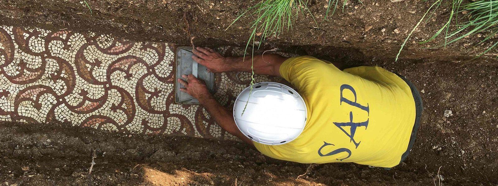 Ein Archäologe beim Freilegen des Funds.