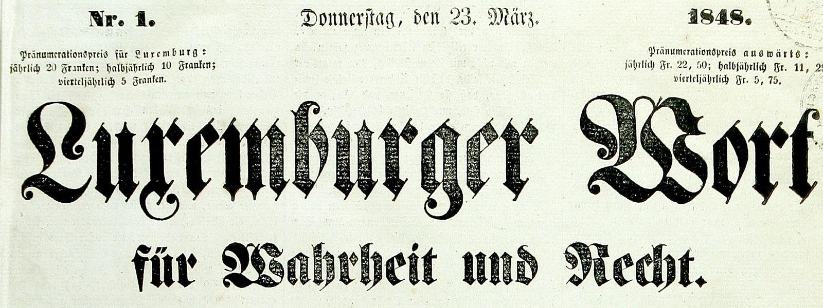 Luxemburger Wort 1848