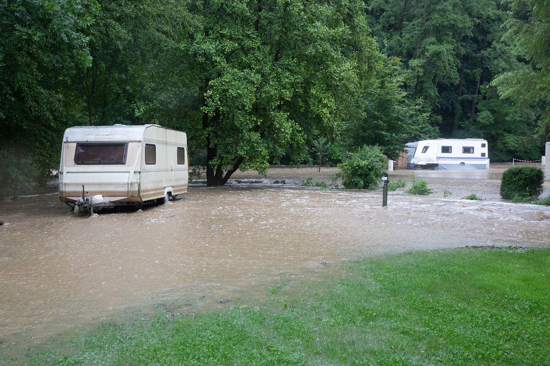 Der überschwemmte Campingplatz Cascades in Müllerthal.