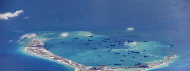 Das Mischief Riff der umkämpften Spratly-Inseln im Südchinesischen Meer. Peking erklärt mehr als 80 Prozent des insgesamt 3,5 Millionen Quadratkilometer großen Gewässers sein Eigen.