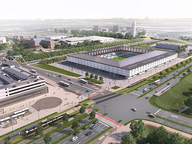 The 60-million-euro, 9,385-seat football and rugby stadium will be located on Boulevard de Kockelscheuer in the Cloche d'Or district.