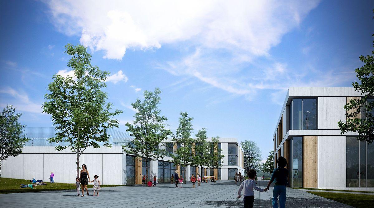 L'extension du bâtiment scolaire comprendra au rez-de-chaussée le foyer scolaire avec 4 séjours, au rez-de-jardin 3 salles de classe pour l'enseignement précoce et à l'étage 6 salles de classe pour l'enseignement préscolaire.