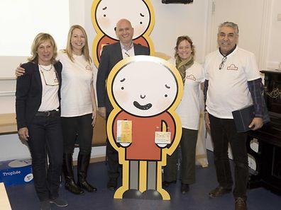 From left to right: Barbara Gorges-Wagner, Sam Stobart-O'Dea, Simon Taylor-Kielty, Bod, Lynn Frank, Farshad Afsharimehr