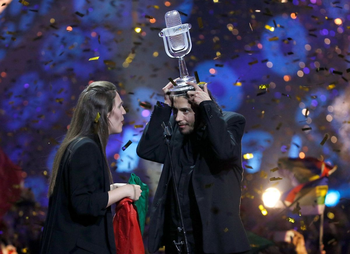 Portugal's Salvador Sobral celebrates after winning the grand final of the Eurovision Song Contest 2017 at the International Exhibition Centre in Kiev, Ukraine, May 13, 2017. REUTERS/Gleb Garanich     TPX IMAGES OF THE DAY