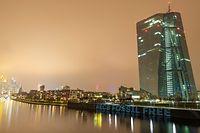 """dpatopbilder - 09.12.2020, Hessen, Frankfurt/Main: """"#ECB Fossil Free"""" haben Aktivisten des Frankfurter """"Koala-Kollektiv"""" mit einem Beamer an die Kaimauer vor der Zentrale der Europäischen Zentralbank (EZB) projiziert. Mit der Aktion protestiert die Gruppe gegen die Klimapolitik des Geldinstituts. Foto: Boris Roessler/dpa +++ dpa-Bildfunk +++"""