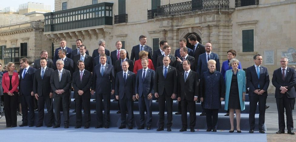 European leaders pose for a family picture during an European Union summit on February 3, 2017 in Valletta, Malta.