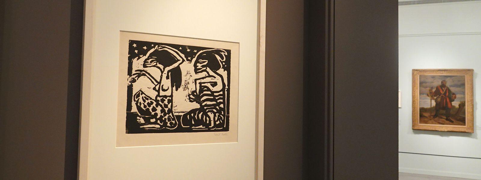 """""""Mann und Weibchen"""" von Emil Nolde in Gurlitt-Ausstellung. Mehr als 80 Werke aus dem Erbe des deutschen Kunsthändlers Hildebrand Gurlitt sind von Dienstag an im Jerusalemer Israel-Museum zu sehen."""