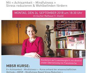 Konferenz zum Thema Achtsamkeit mit Dr. Marie-Paule Theisen