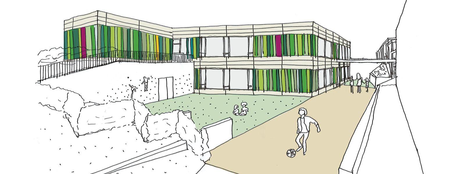 Die markante, farbige Fassade des bestehenden Schulgebäudes soll auch den geplanten Neubau prägen.