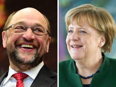 Herausforderer Schulz (l.) prophezeit ein enges Rennen.